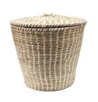 Basket with lid hg37 ø 40/ø30cm Braided Grass & White Ribbon pvc