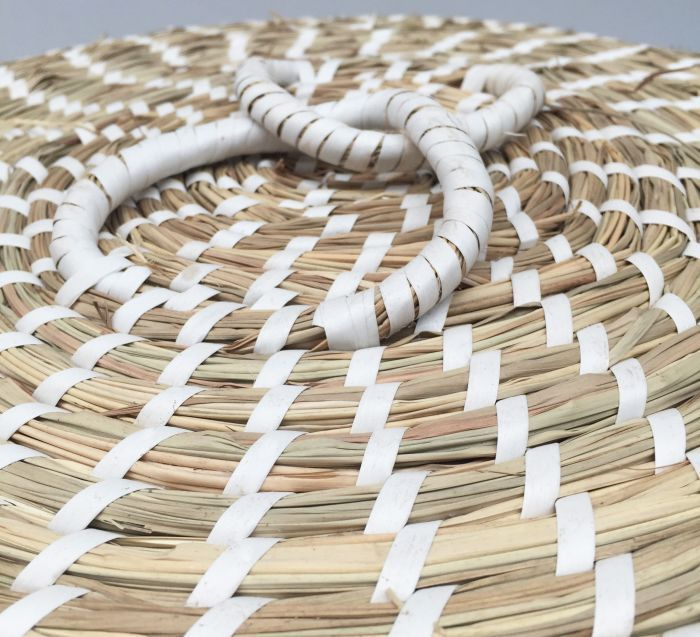 basket with lid hg37 4030cm braided grass white ribbon pvc