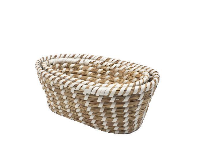 baskets oval set2 braided grass white ribbon pvc
