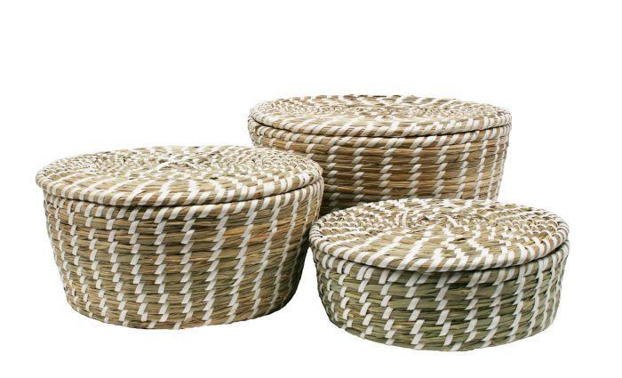 baskets with lid set3 braided grass white ribbon pvc