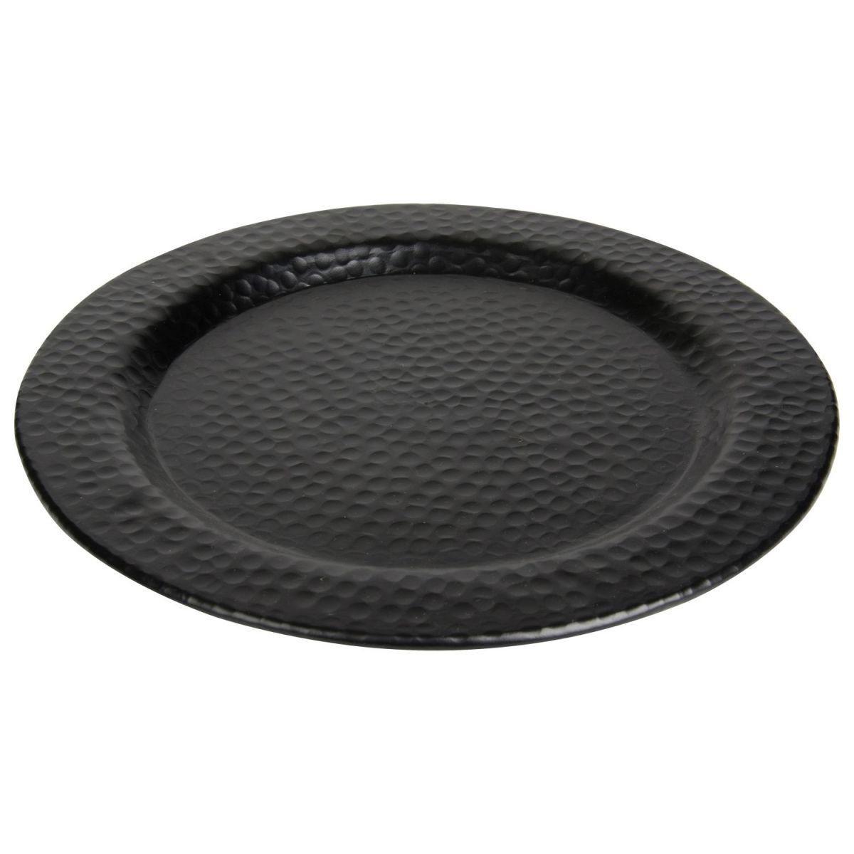 bord rond gehamerd mat zwart 39cm