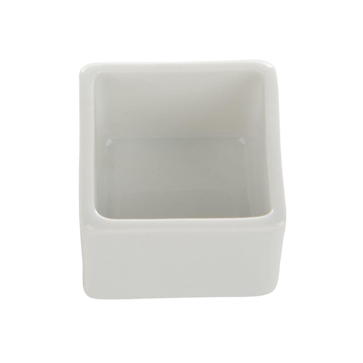 kommetje porselein vierkant wit 4x4x3cmbox 12