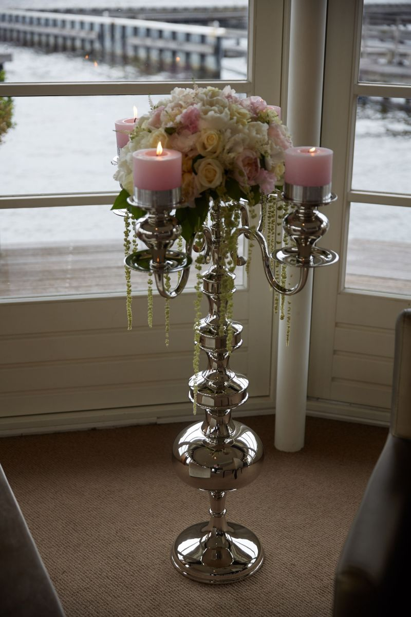 candleholder 5arm with plate for flowers hg 85cm