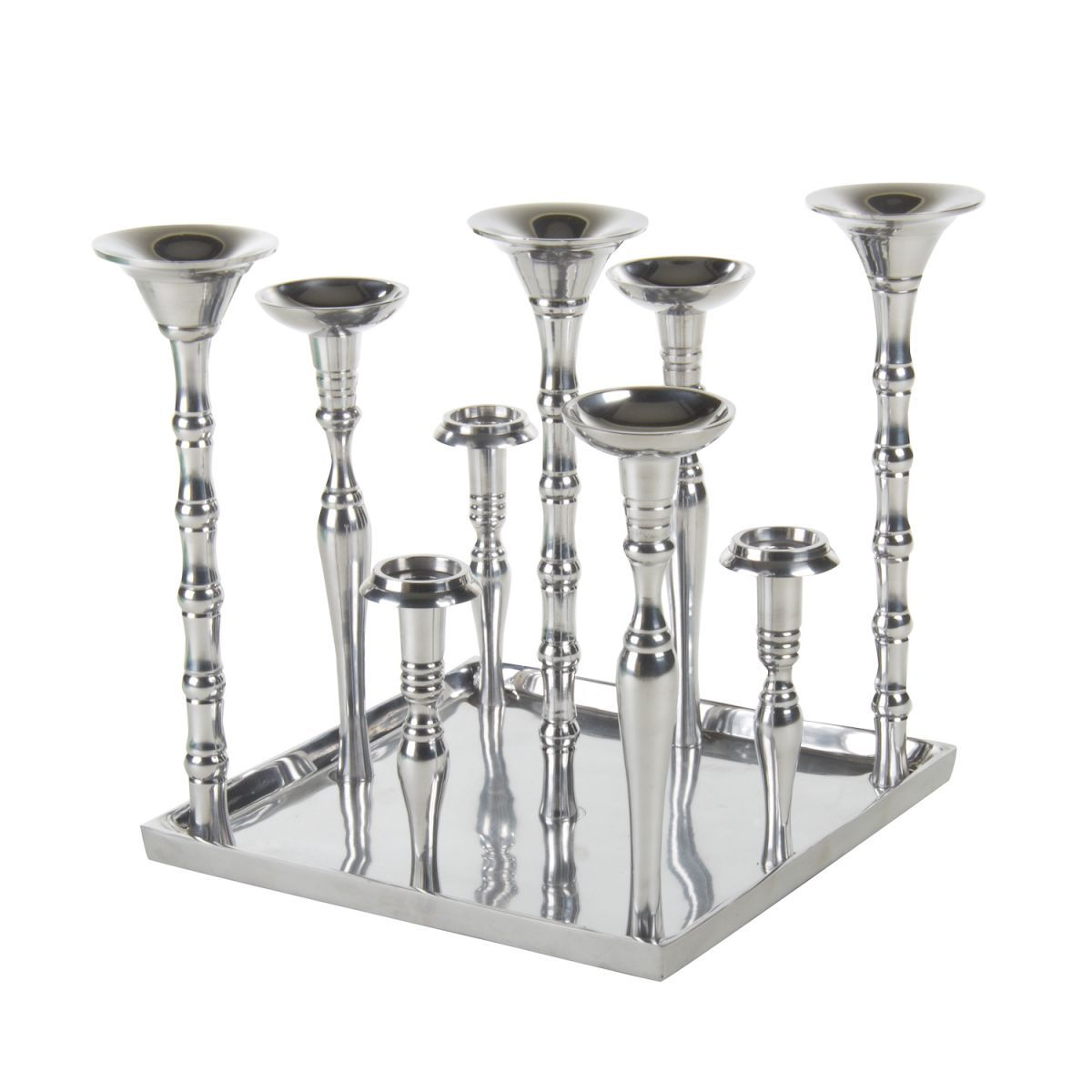 candleholders 9 on square tray 33cm