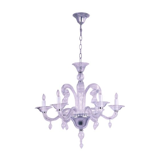 chandelier mouthblown glass roma 5arm clear hg 60 74 cm