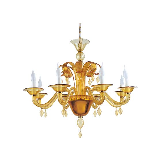 chandelier mouthblown glass roma 8arm amber hg 62 88 cm