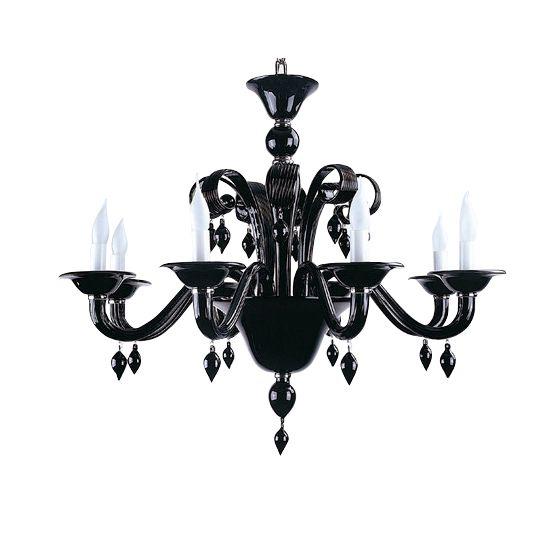 chandelier mouthblown glass roma 8arm black hg 62 88 cm