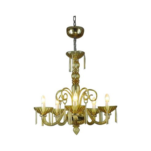 chandelier mouthblown glass venice 5arm amber hg 67 72 cm