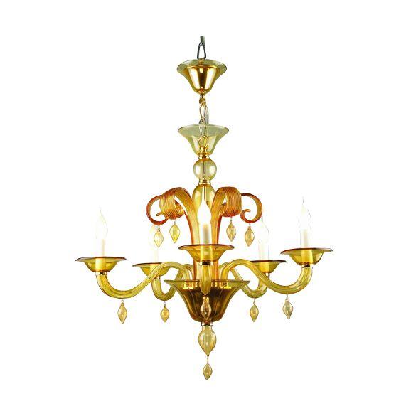 kroonluchter mondgeblazen glas roma 5arm amber hg 60 74 cm