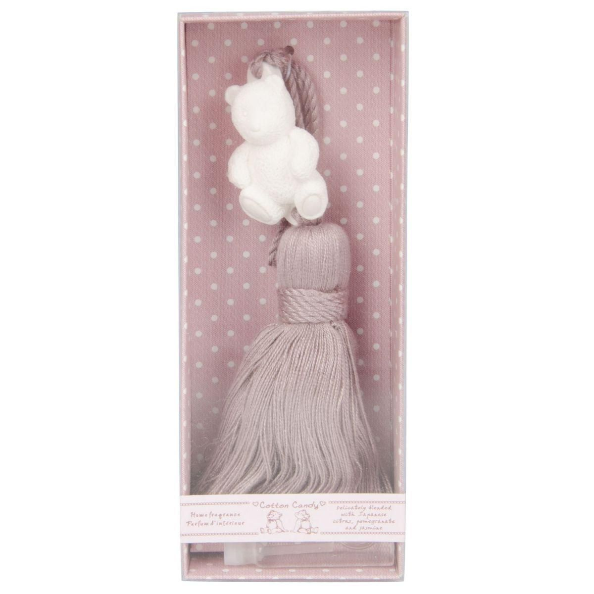 cotton candy ornament with fragance rose with tassel pink in gift box