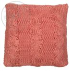 Cushion Coral knitted cables 50x50cm