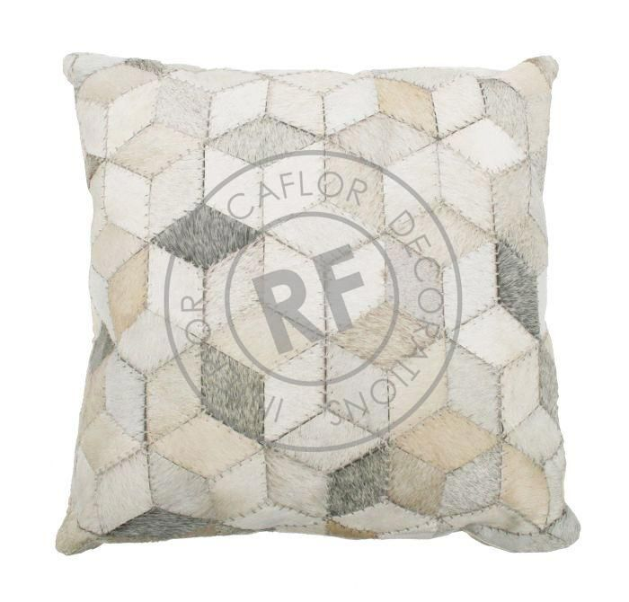 cushion leather graphic wyber pattern white 50x50cm