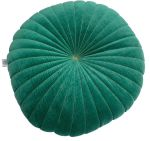 Cushion Velvet Bottle Green Golden Stitching ø 60cm