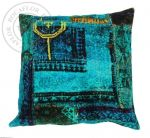 Cushion velvet digital print blue multi colours 50x50cm