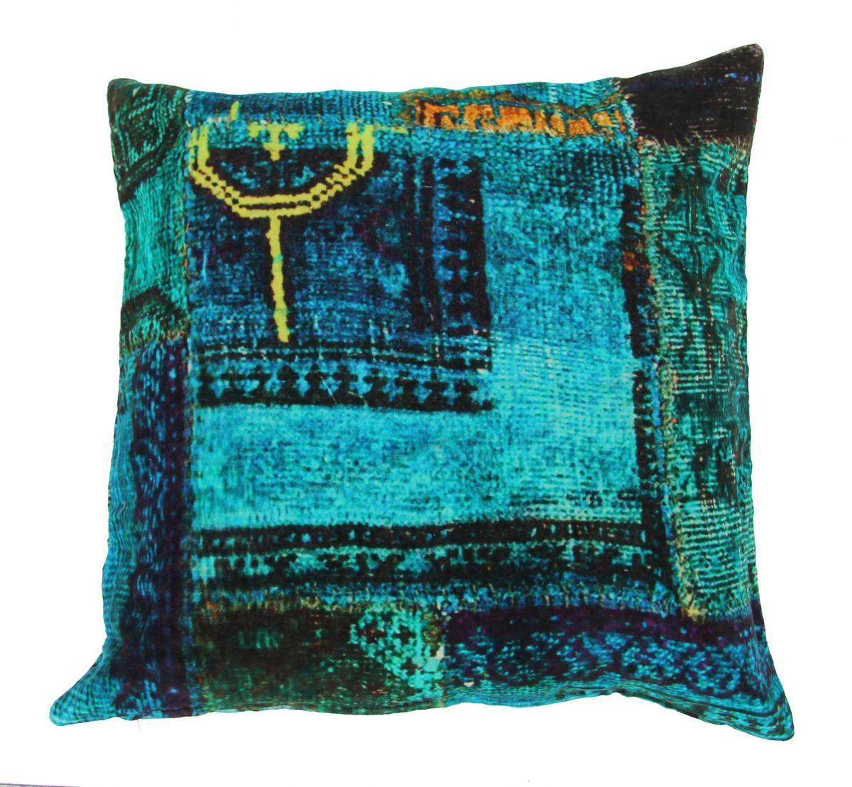 cushion velvet digital print blue multi colours 50x50cm