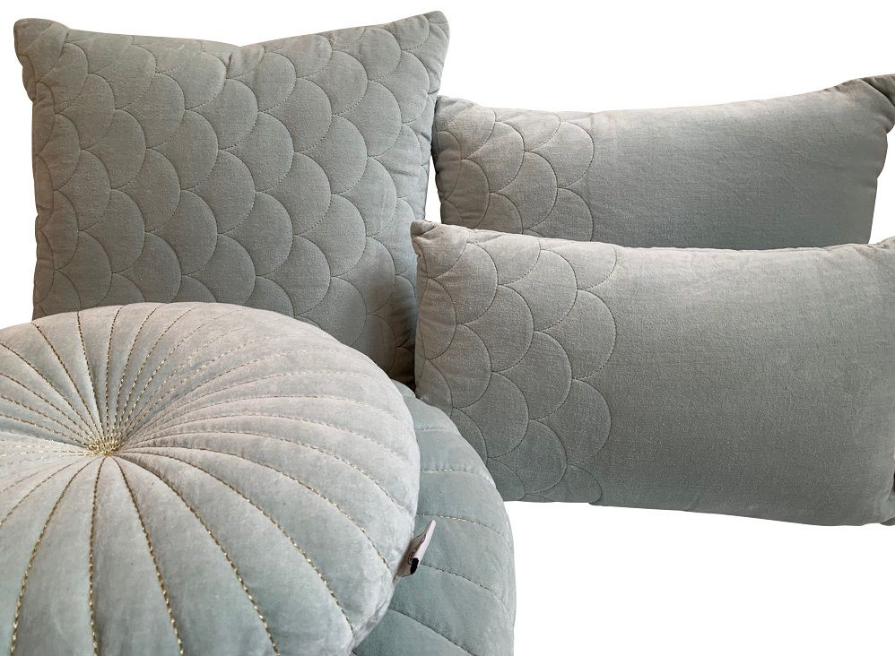 cushion velvet fish skin pattern pale aqua 50x50cm