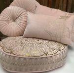 Cushion velvet light pink 50x30cm print gold lotus flower