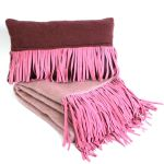 Cushion wool suede fringes wine red 50x30cm