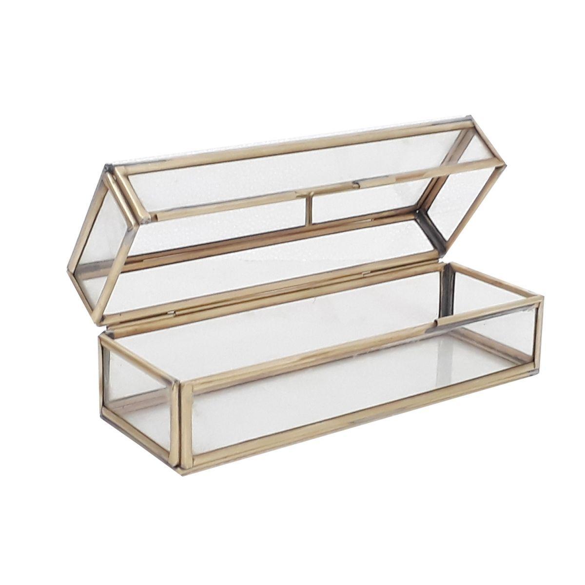 decoratief doosje glas goud tint 185x65x65cm rechthoekig