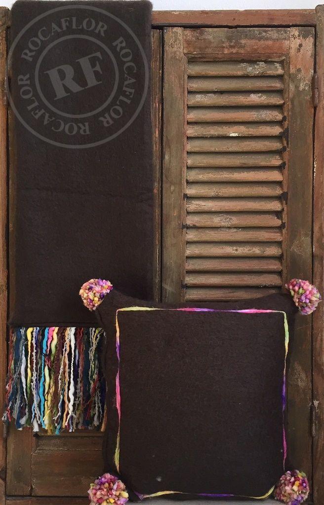 deken donkerbruin multi franje 130x170cm