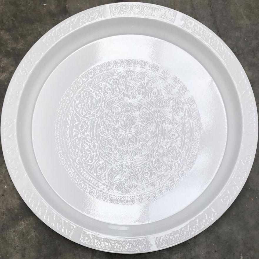 dienblad metaal wit gravure h27 45cm