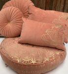Floorcushion Velvet Old Pink Golden Print Lotus ø 70 hg 12 cm