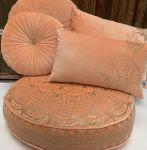 Floorcushion Velvet Peach Golden Print Lotus ø 70 hg 12 cm
