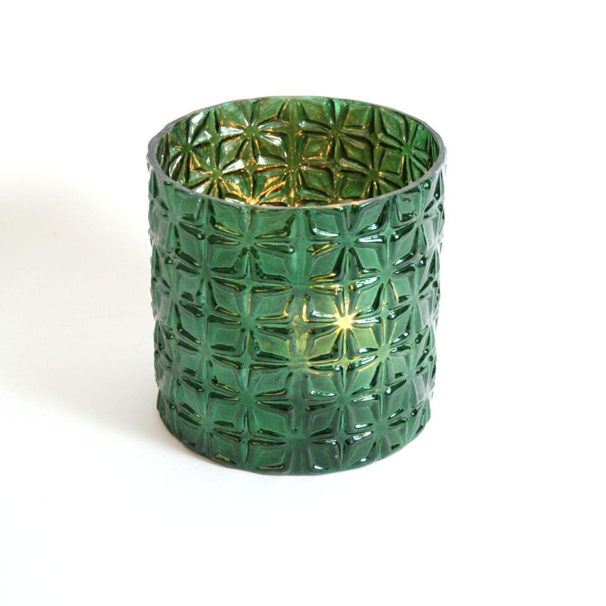 glas potwaxine cilinder groen 13x13cm