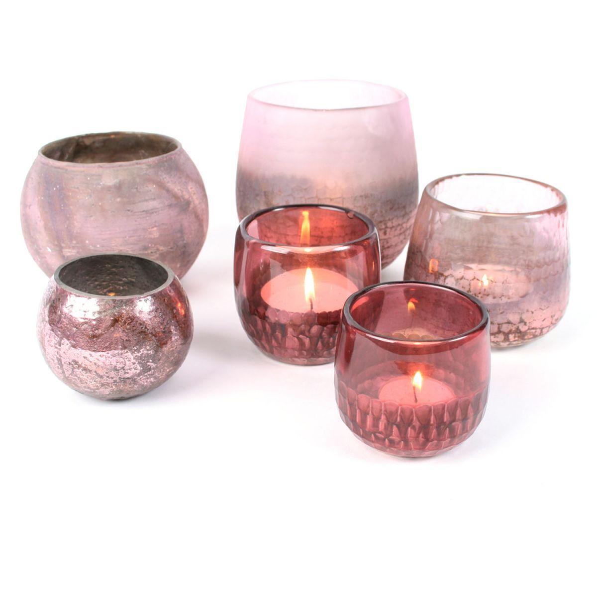 glas waxine bol roze mat 10x13cm
