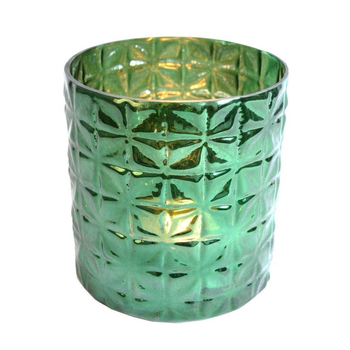 glass potwaxine cilinder green 16x15cm