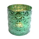 Glass pot/waxine cilinder green 16x15cm