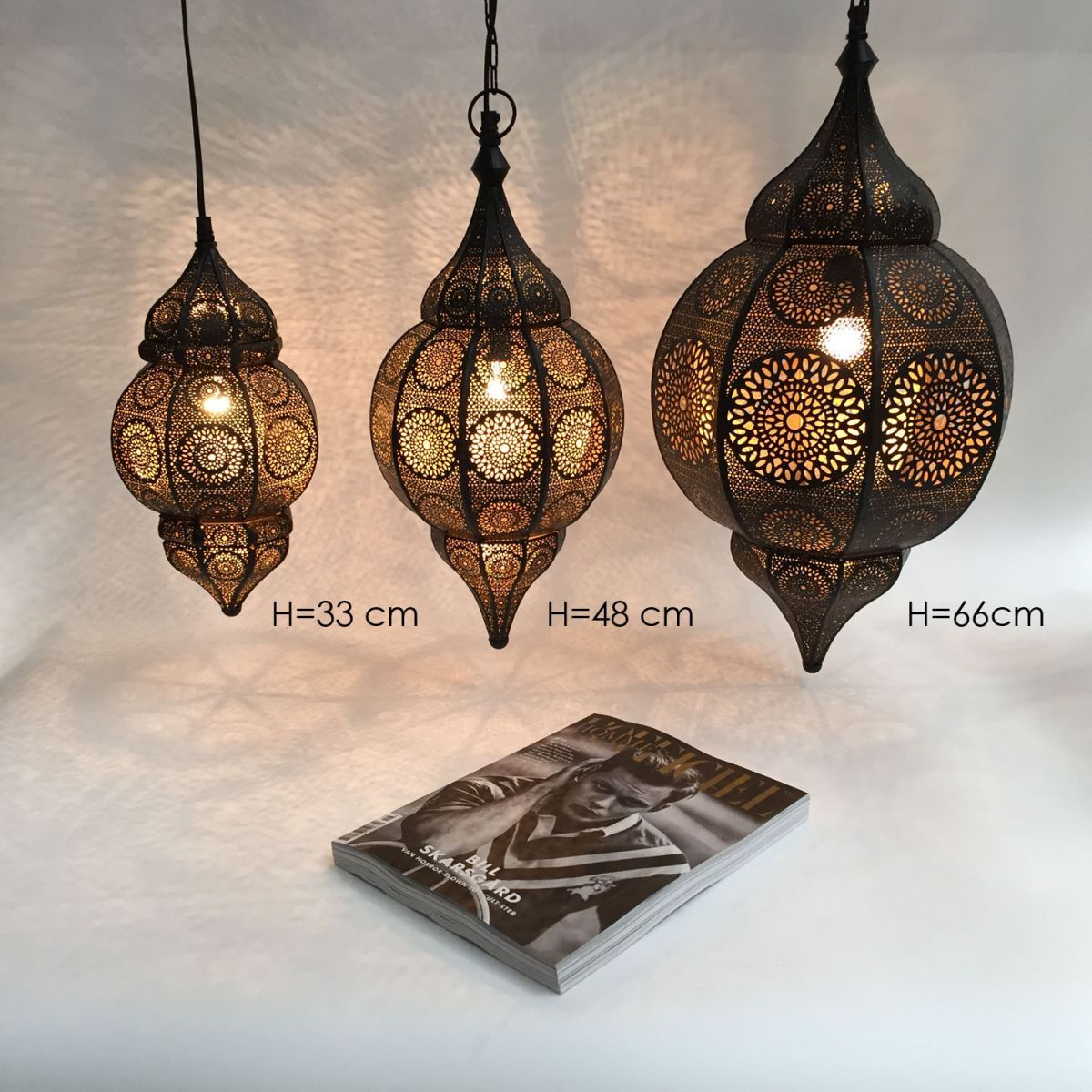 hanging lamp oriental blackgold m hg 48 22 cm