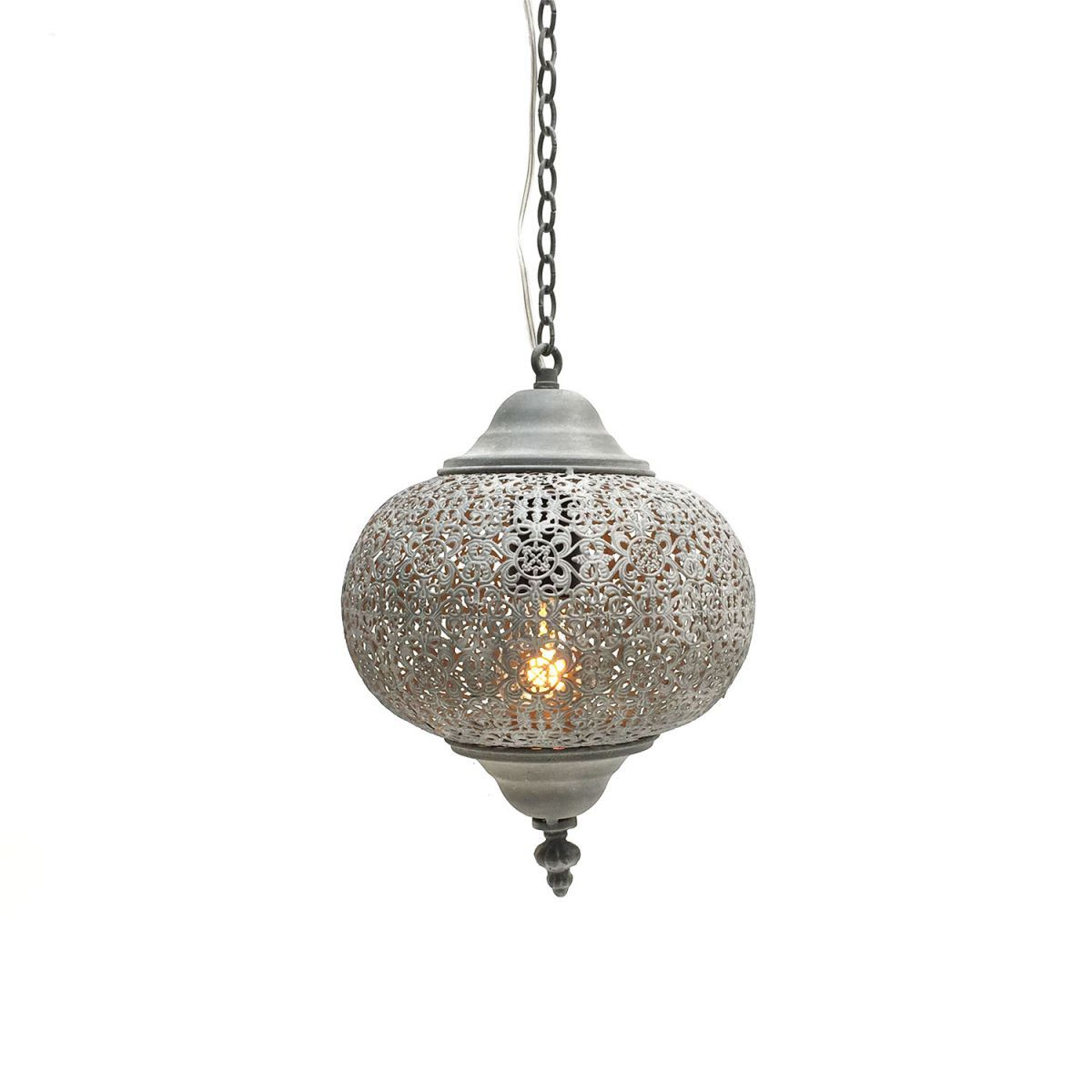 hanglamp filigrain orientaals mistiek grijs 25 hg 25cm