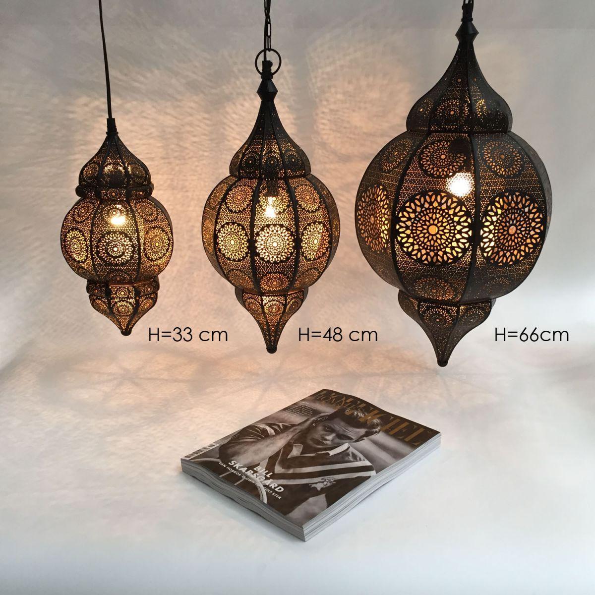 hanglamp orientaals l zwartgoud hg 66 32 cm