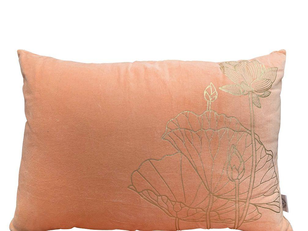 kussen fluweel peach rechthk 60x40cm print lotus goud