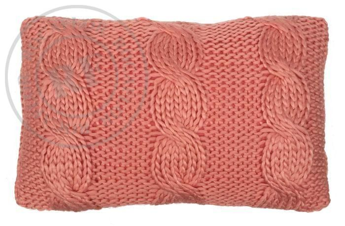 kussen gebreid kabelpatroon koraalroze 50x30cm