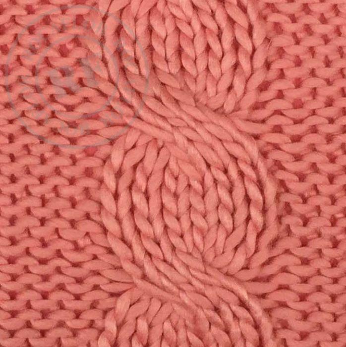 kussen gebreid kabelpatroon koraalroze 50x50cm