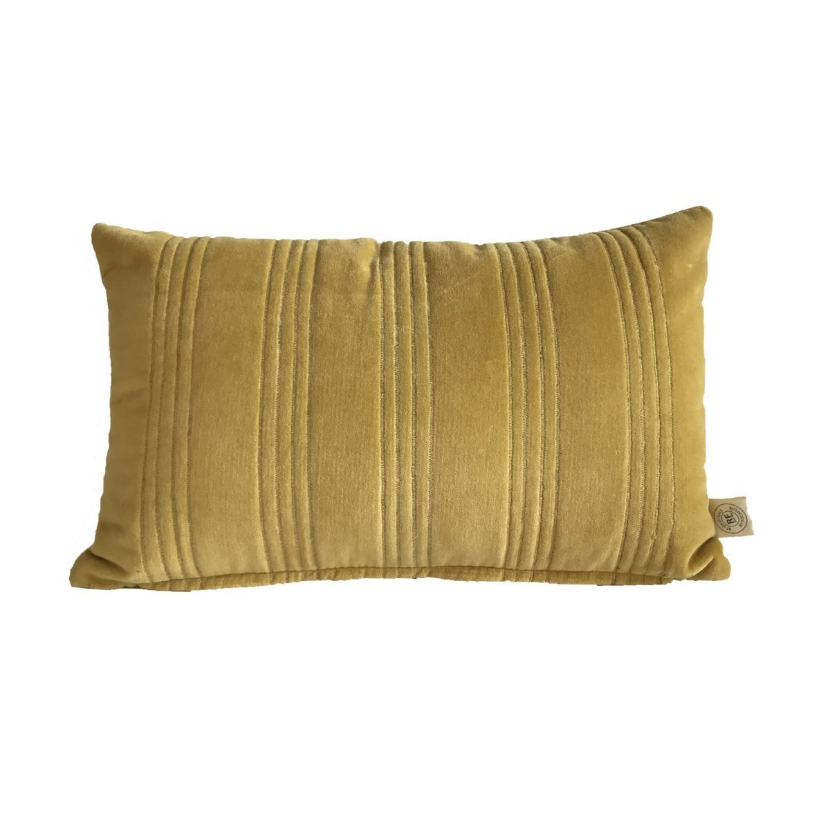 kussen velours oker met gouden stiksel 50x30cm
