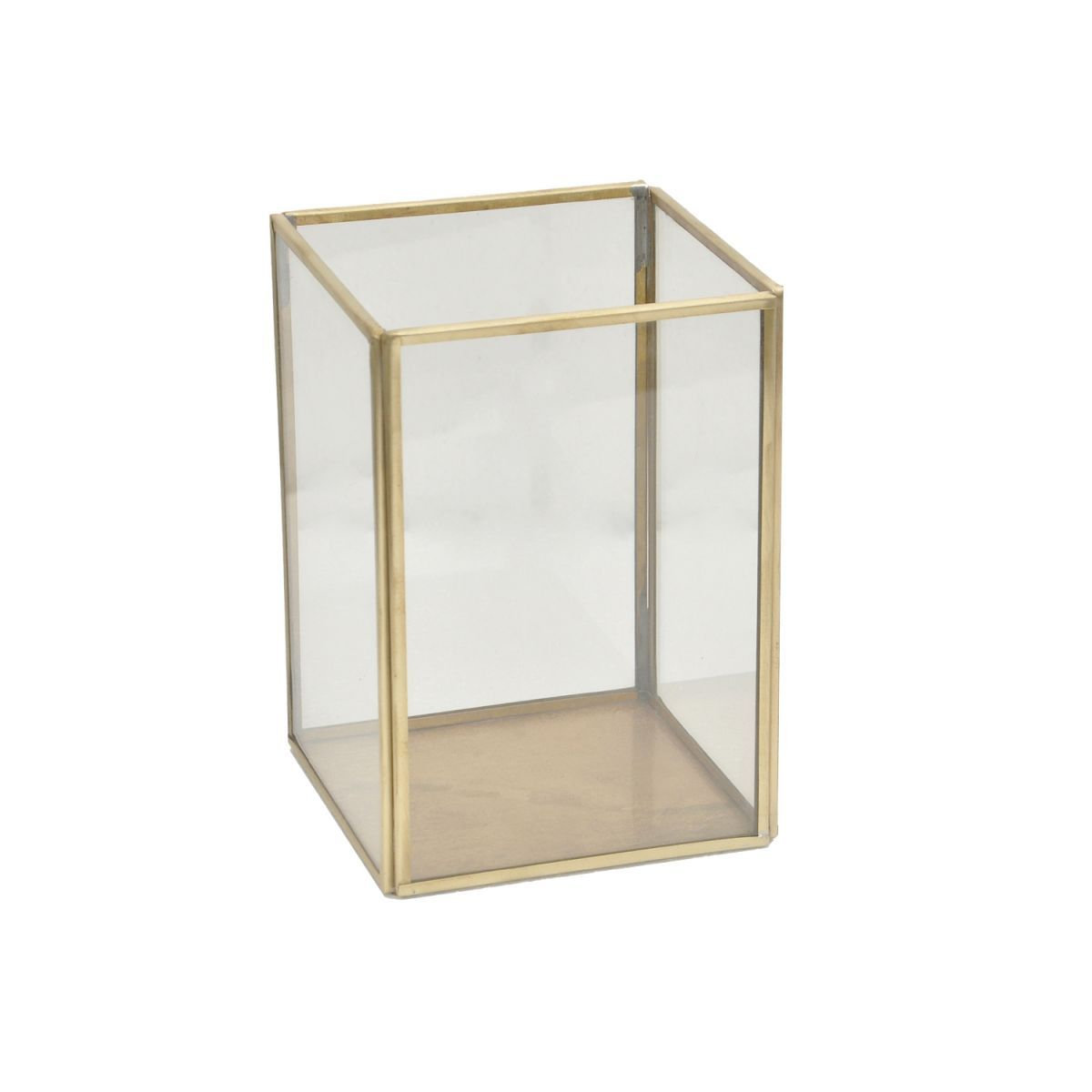 lantaarn glas met messing tint 11x11x155cm