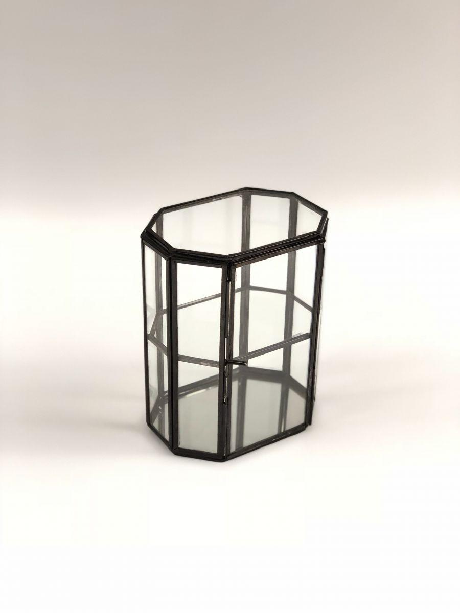 opbergdoosje glas zwart metaal 2laags br 13 x 95 x hg 164 cm