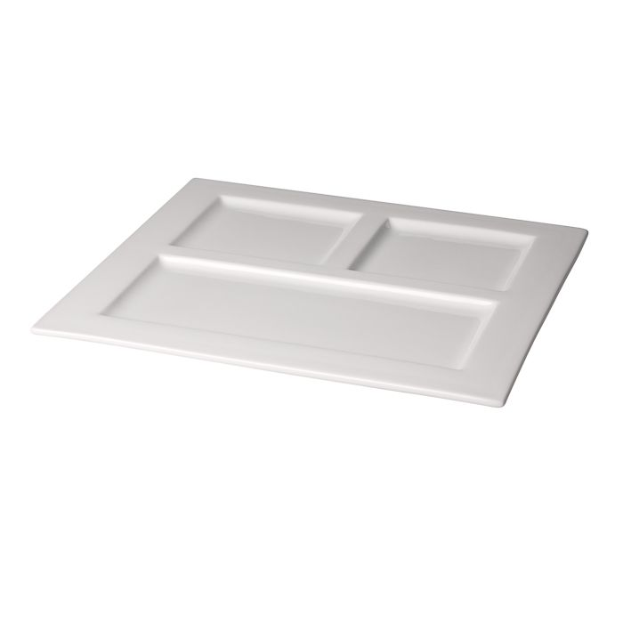 plate white porcelain square 3 compartments 29x29cmbox 12