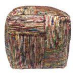 Poef (zacht) recycled zijde multi motief blokken 40/40/40cm