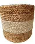 Poof braided jute with ivory white hg 35 ø 40 cm