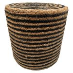 Pouf braided jute black with stripes round ø40hg35cm concentric