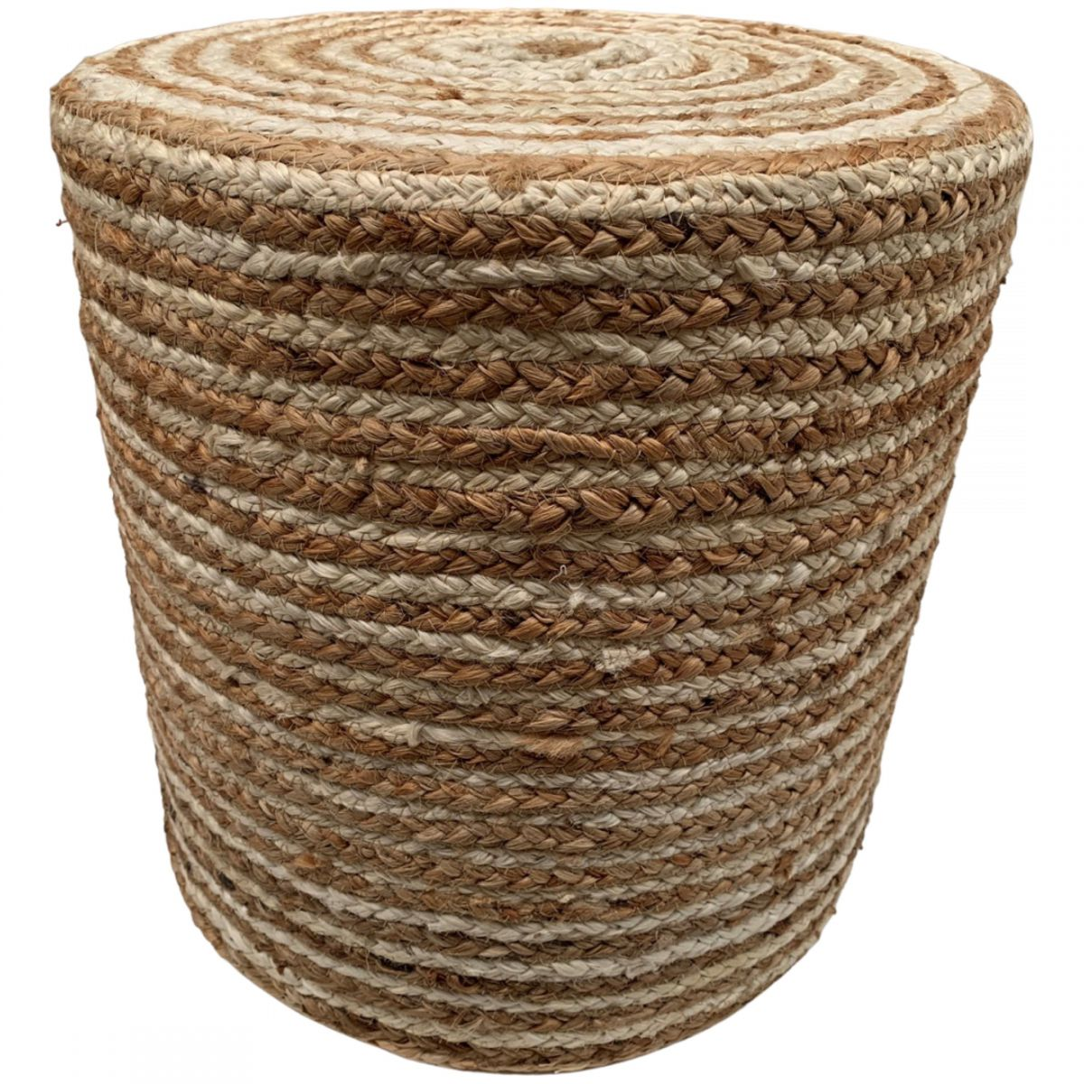 pouf braided jute offwhite with stripes round 40hg35cm concentric