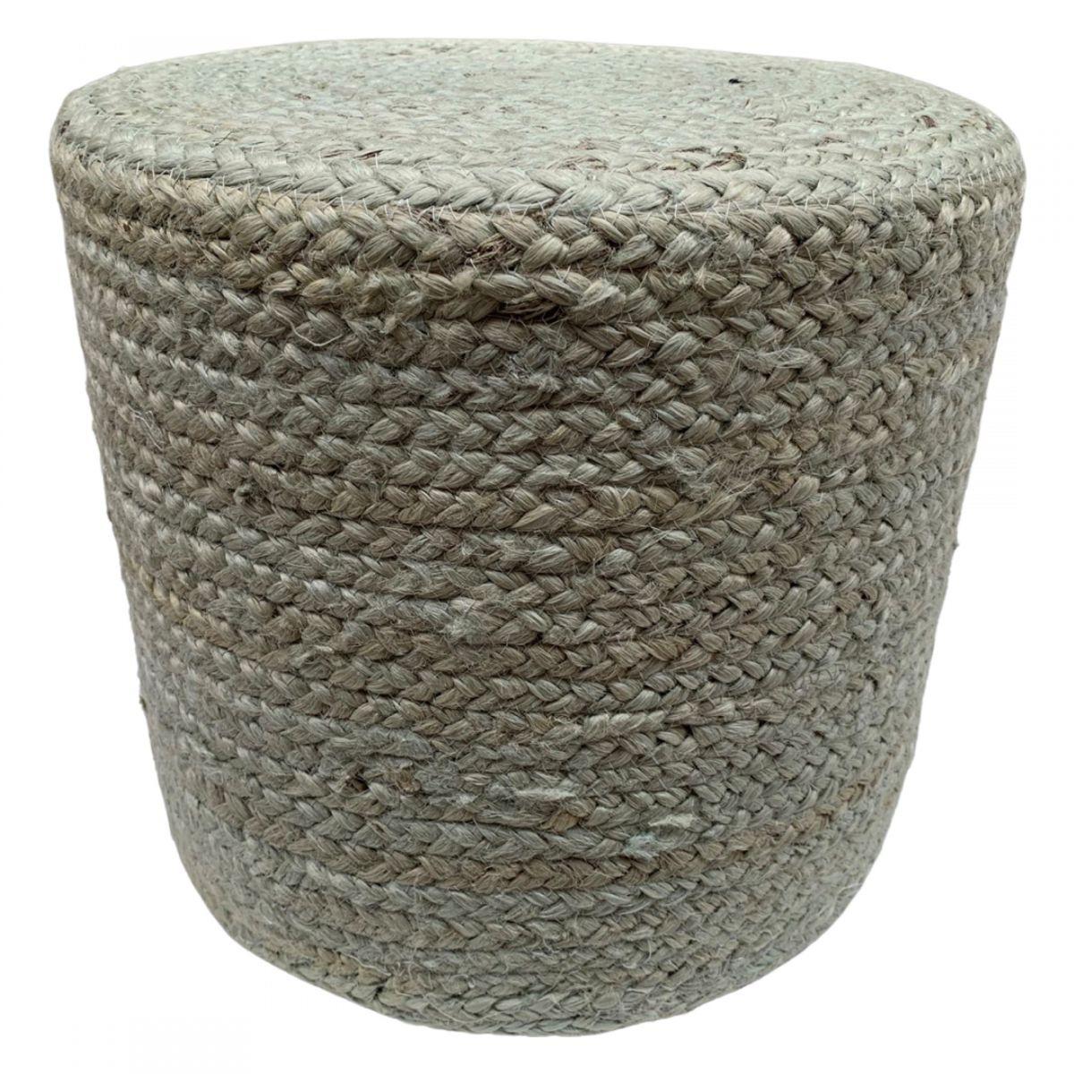 pouf jute round pale aqua 40 hg 35cm