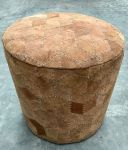 Pouf Recycled suede in Graphic Pattern ø 39 hg 40 cm