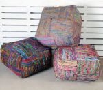 Pouf Silk Lane 55x55 black multi