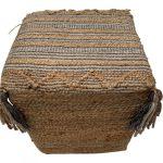 Pouf square woven jute wool PET cotton grey white 40x40hg40cm
