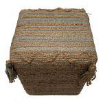 Pouf square woven jute wool PET cotton sage white 40x40hg40cm